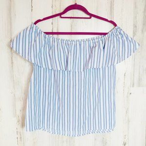 Off The Shoulder Shirt Ruffle Blue Stripes